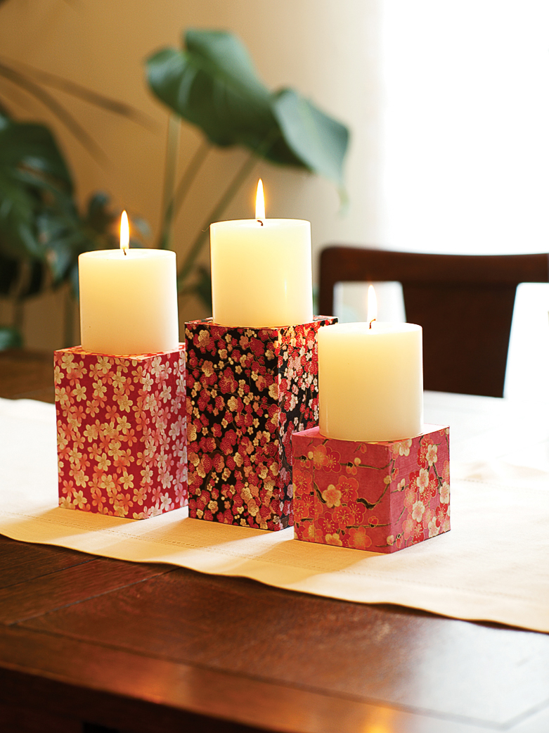 54 home decorating projects sunset magazine sunset for Cardboard candle holders