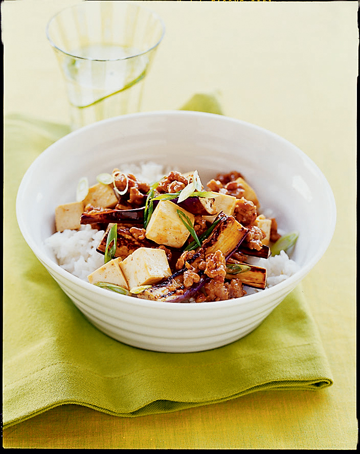 Spicy Eggplant, Pork, and Tofu Stir-Fry