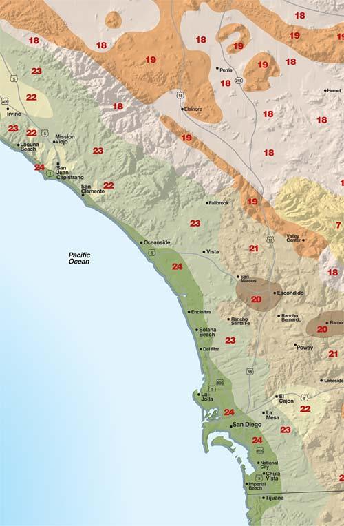 Sunset Climate Zones San Diego Region Sunset Magazine