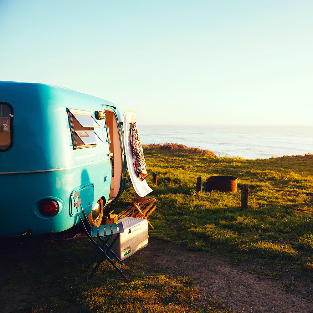 Trailer camping by the ocean