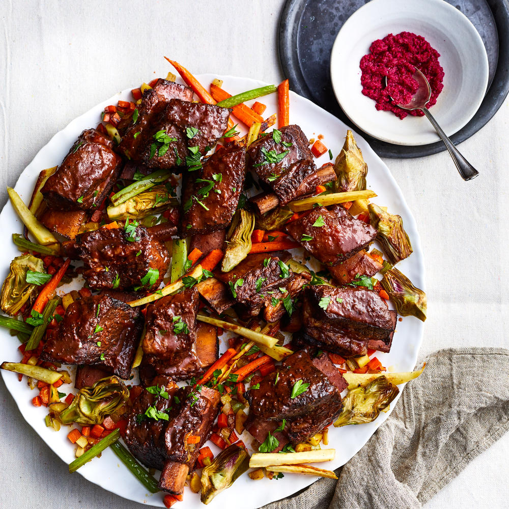 Wine-braised Short Ribs with Parsnips, Carrots, and Artichokes