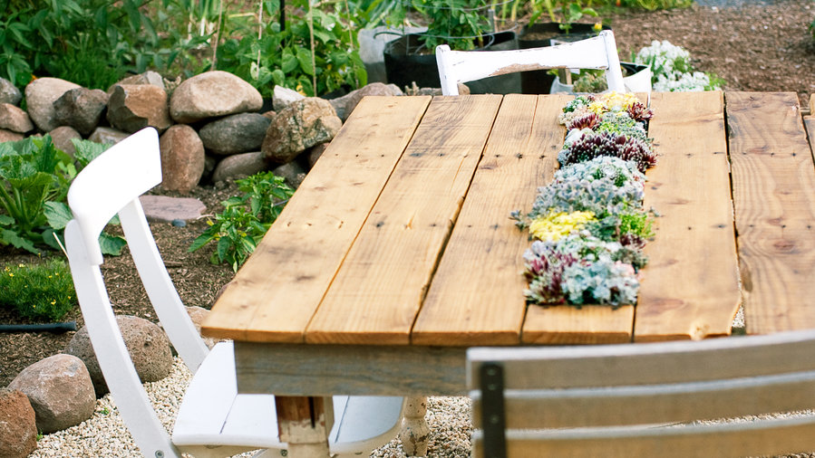 Before: Shipping pallet, After: Outdoor table