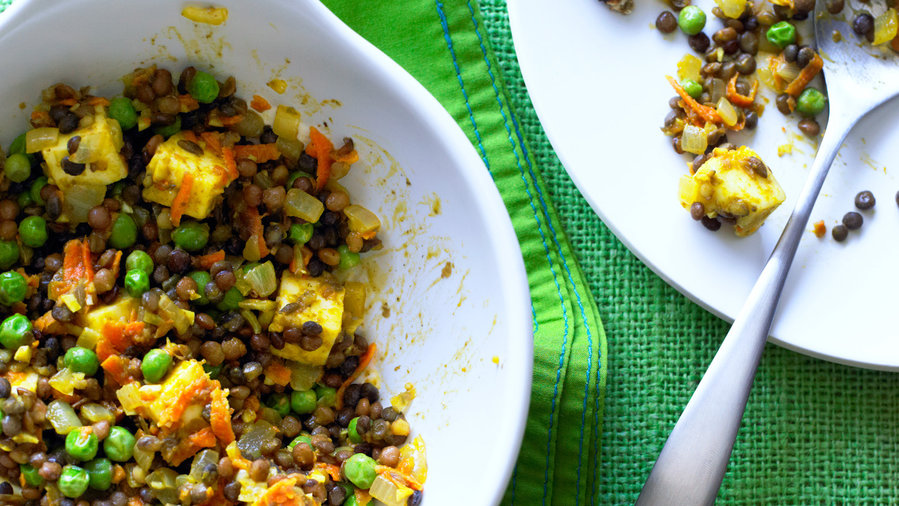 Curried Lentils and Paneer