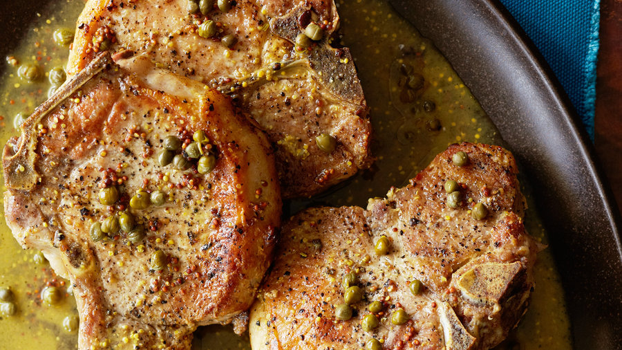 Pork Chops with Mustard, Rosemary, and Capers