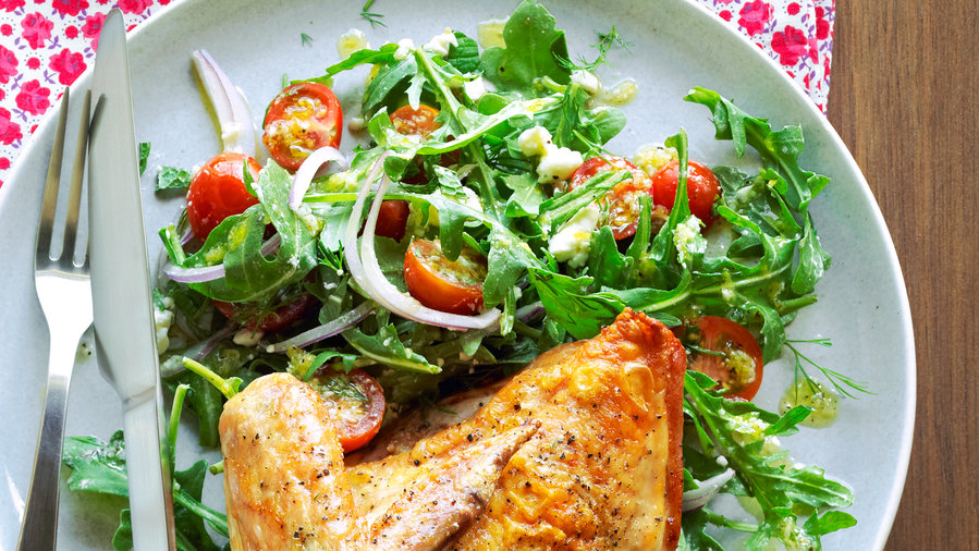 Fast Roast Chicken with Arugula Tomato Salad