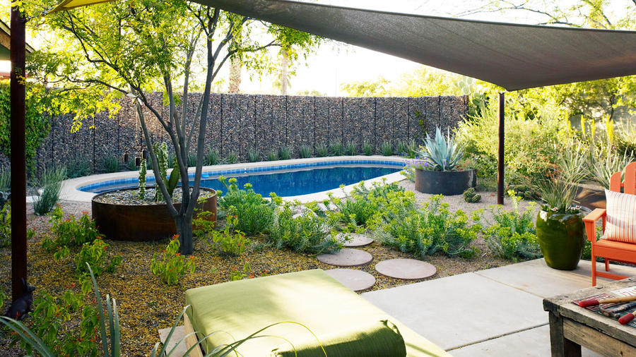 Small Garden After: Phoenix Cozy Poolside Lounge