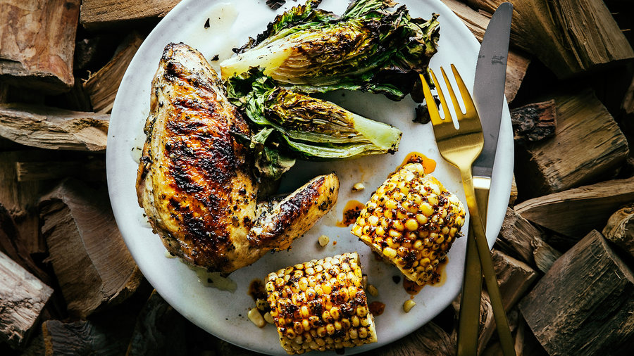 Chicken with Spicy Corn on the Cob and Grilled Lettuces