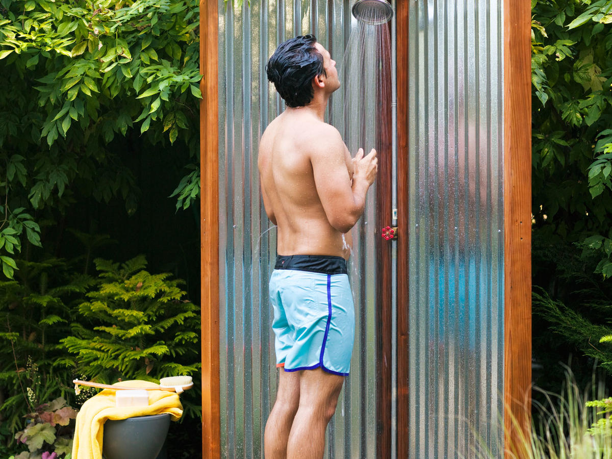 Make your own outdoor shower sunset magazine - How to make an outdoor shower ...
