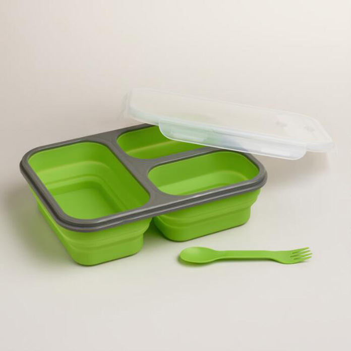 Large Green Collapsible Silicone Lunch Box