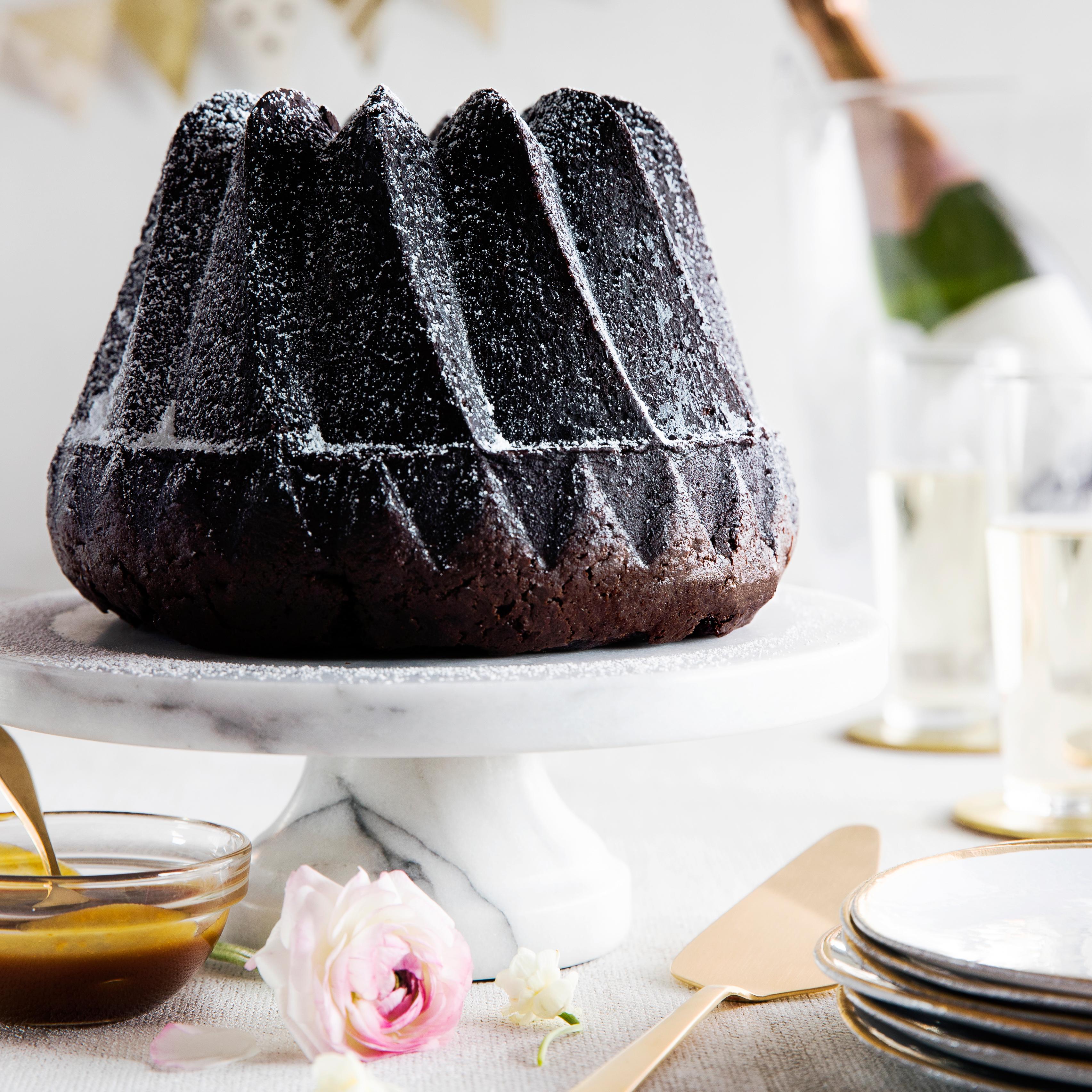 su-Dark Chocolate Bundt Cake with Whiskey Caramel Sauce