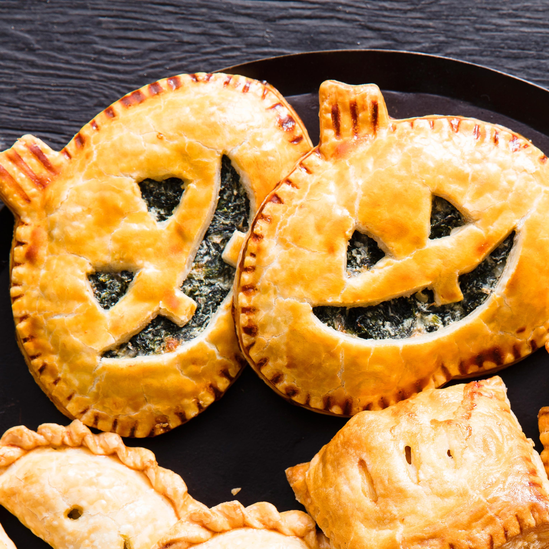 Spinach Jack-O'-Lantern Hand Pies Recipe