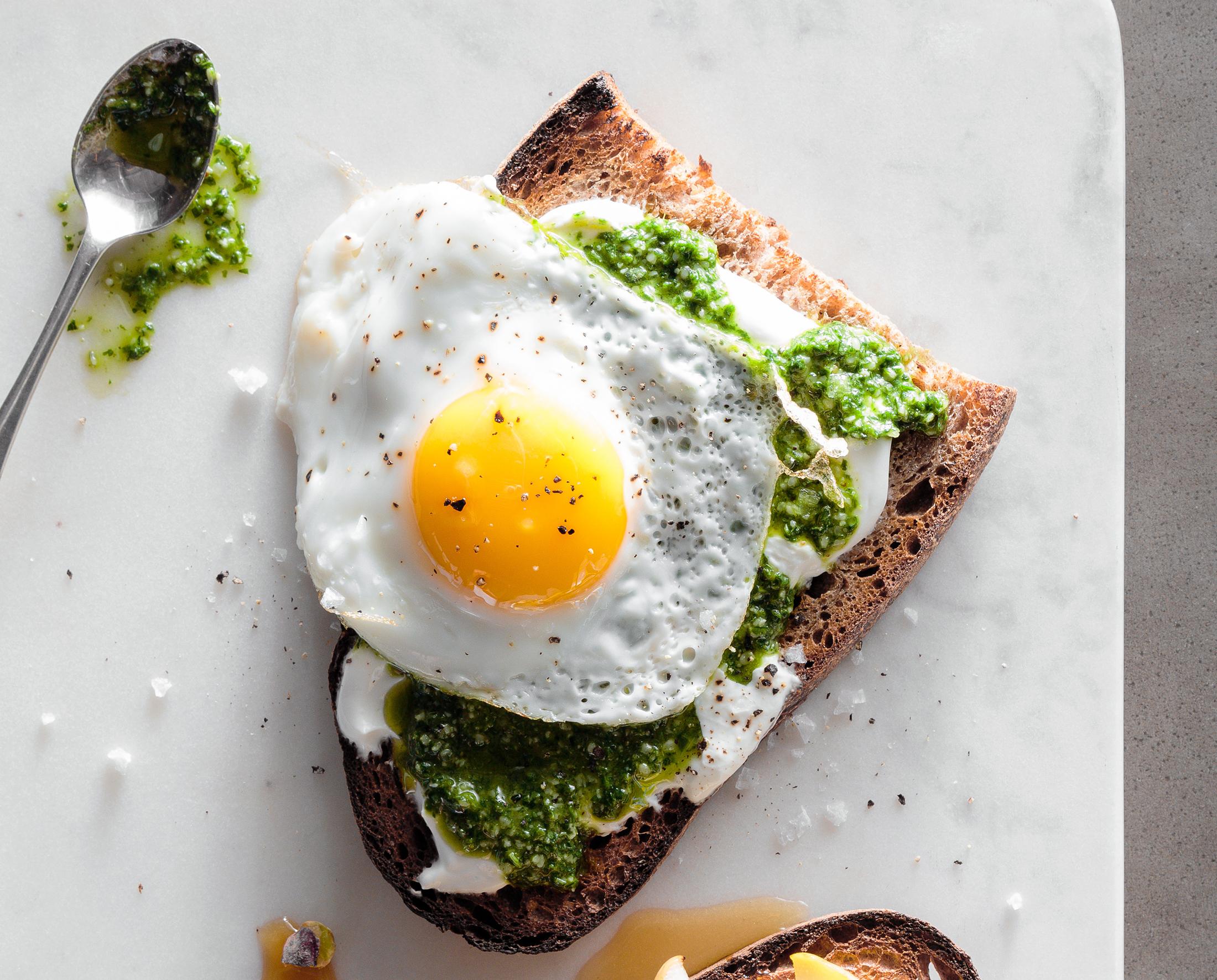 su-Cilantro and Kale Pesto Toast with a Fried Egg