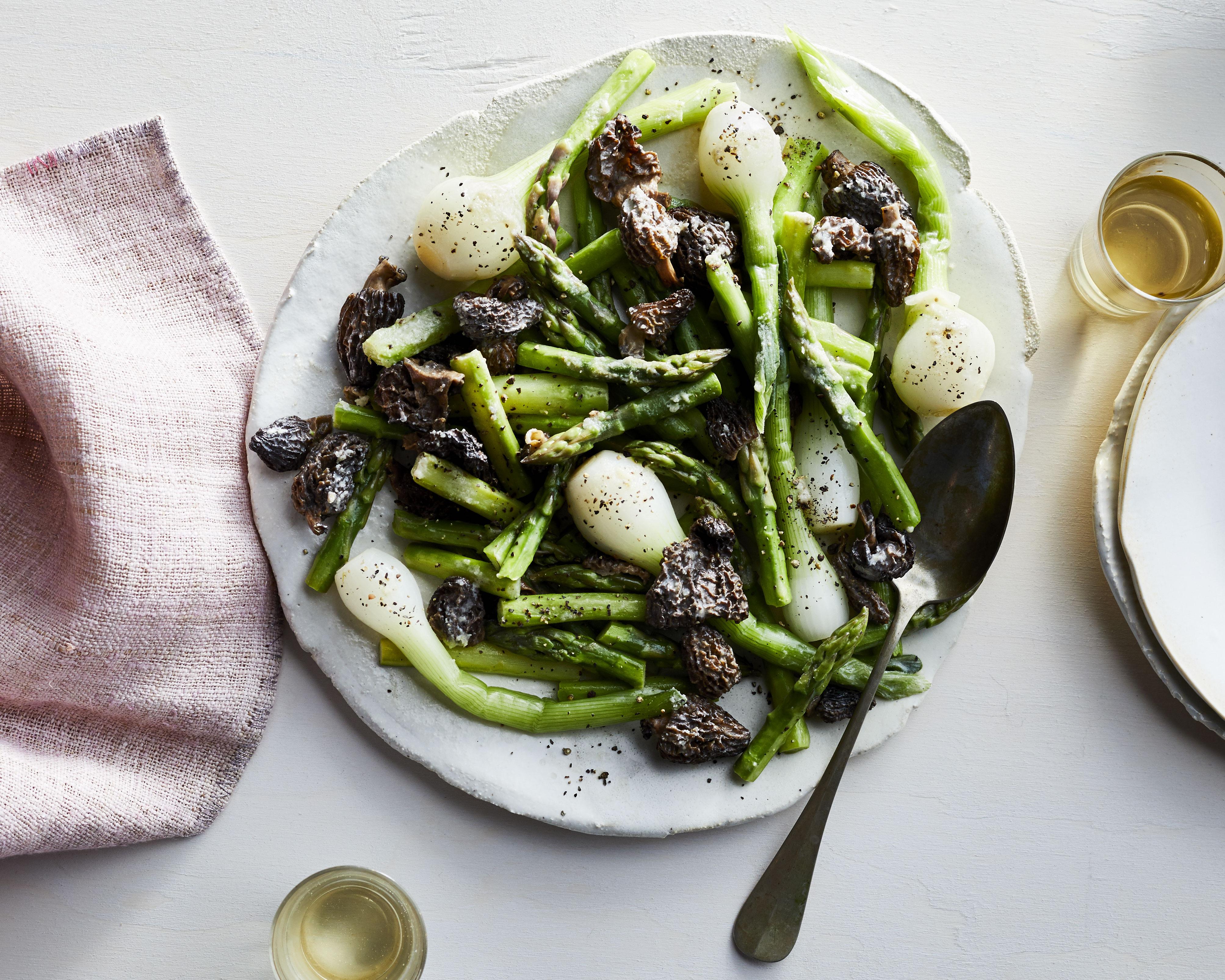 Asparagus, Spring Onion, and Morel Mushroom Sauté