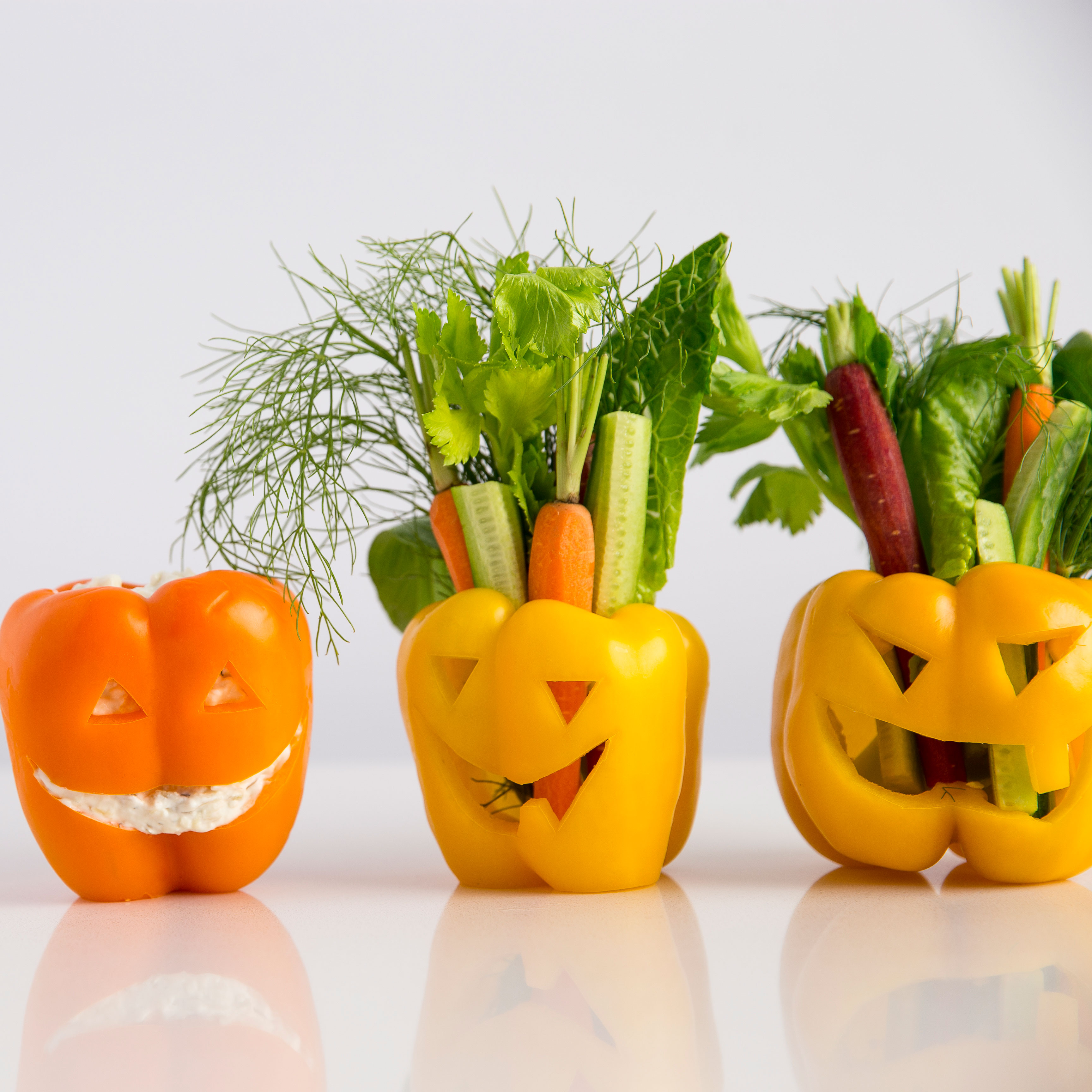 Bell Pepper Jack O'Lanterns with Vegetables and Dip Recipe ...