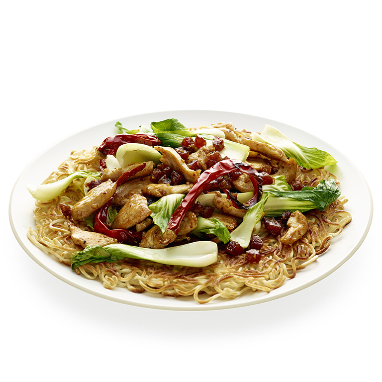 su-Bok Choy and Chicken Stir-Fry over Noodle Pancake Image