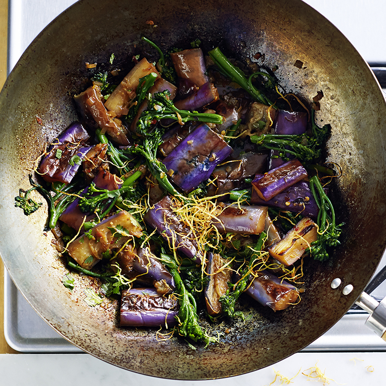 su-Braised Eggplant and Broccolini with Fried Ginger Image