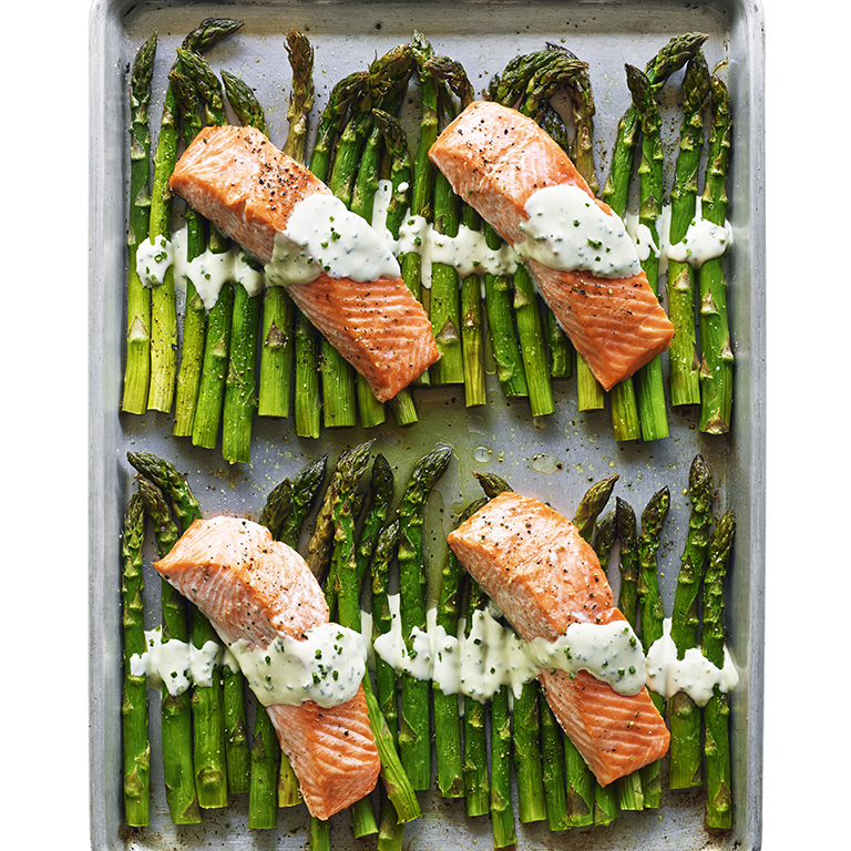 su-Broiled Salmon and Asparagus with Crème Fraîche Image
