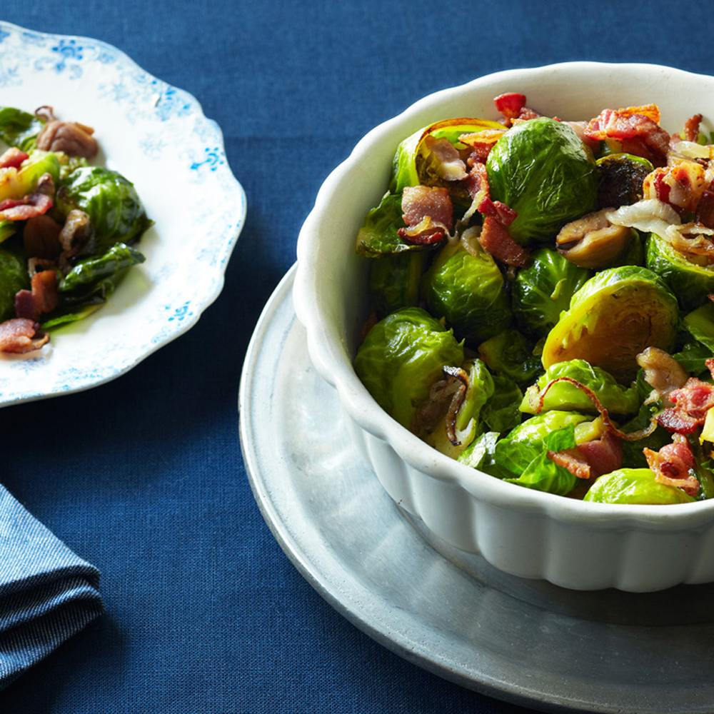 su-Brussels Sprouts with Chestnuts and Bacon