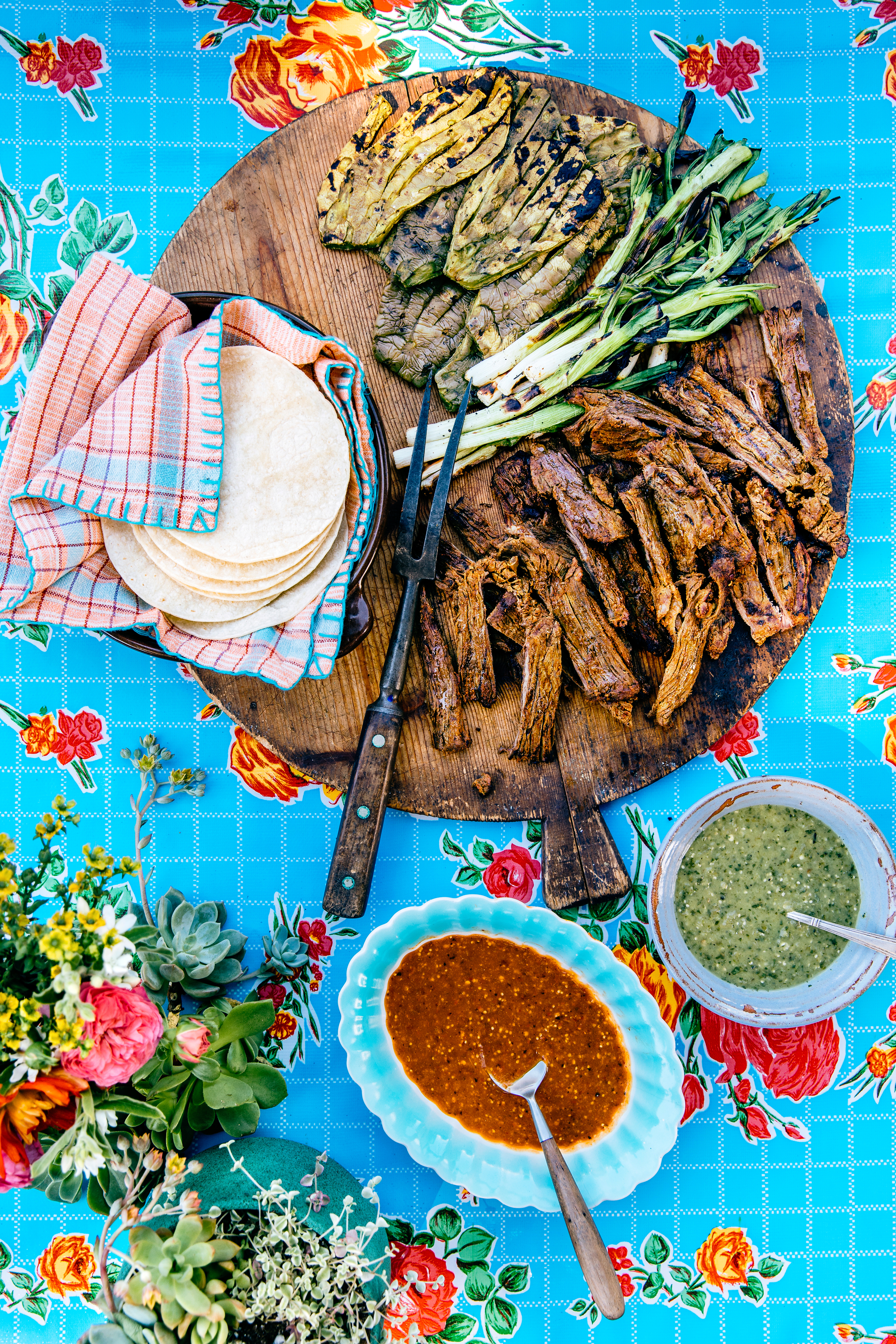 su- Carne Asada with Nopales and Green Onions