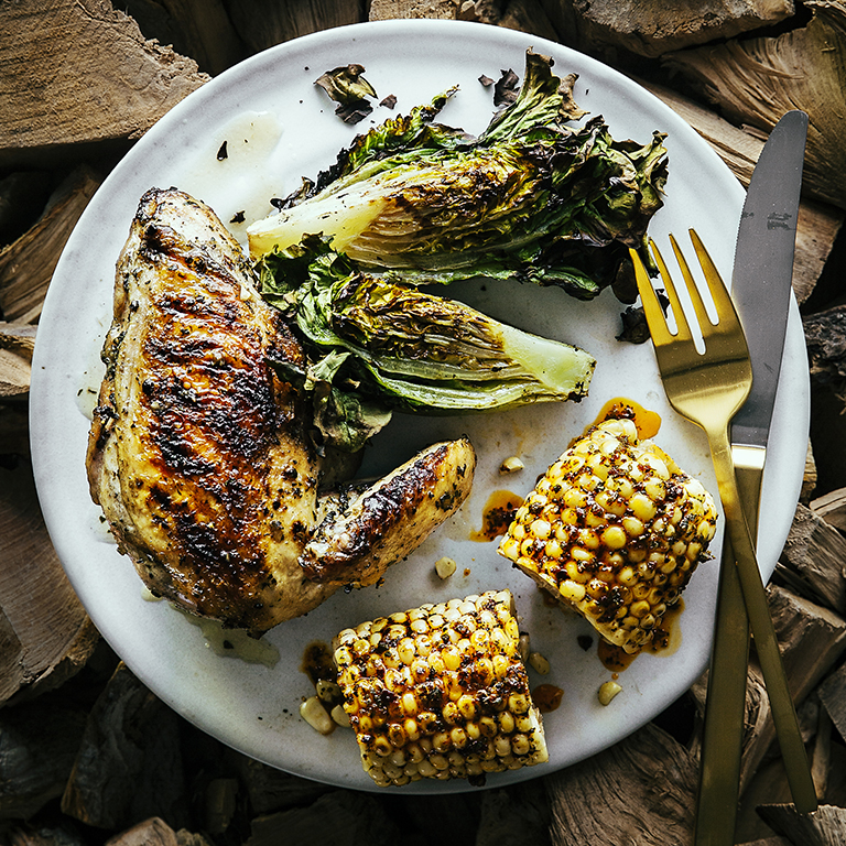 su-Grilled Chicken with Spicy Corn on the Cob and Grilled Lettuces Image