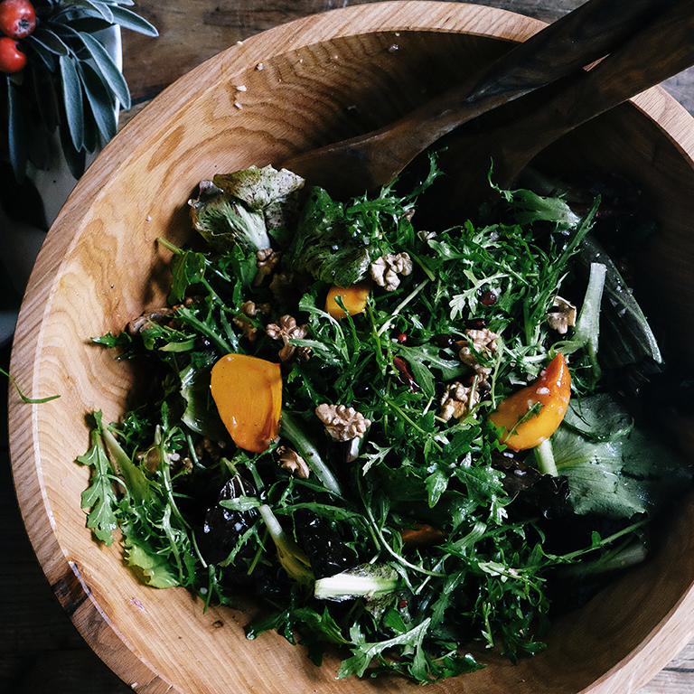 su-Chicory Salad with Persimmons, Pomegranates, and Walnuts Image