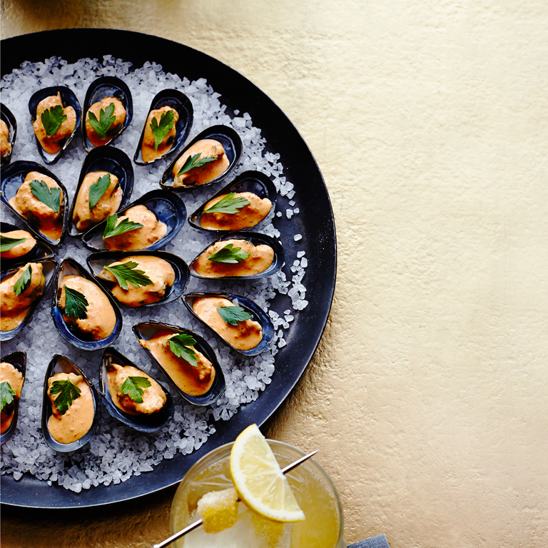 su-Chilled Mussels with Saffron Mayo Image