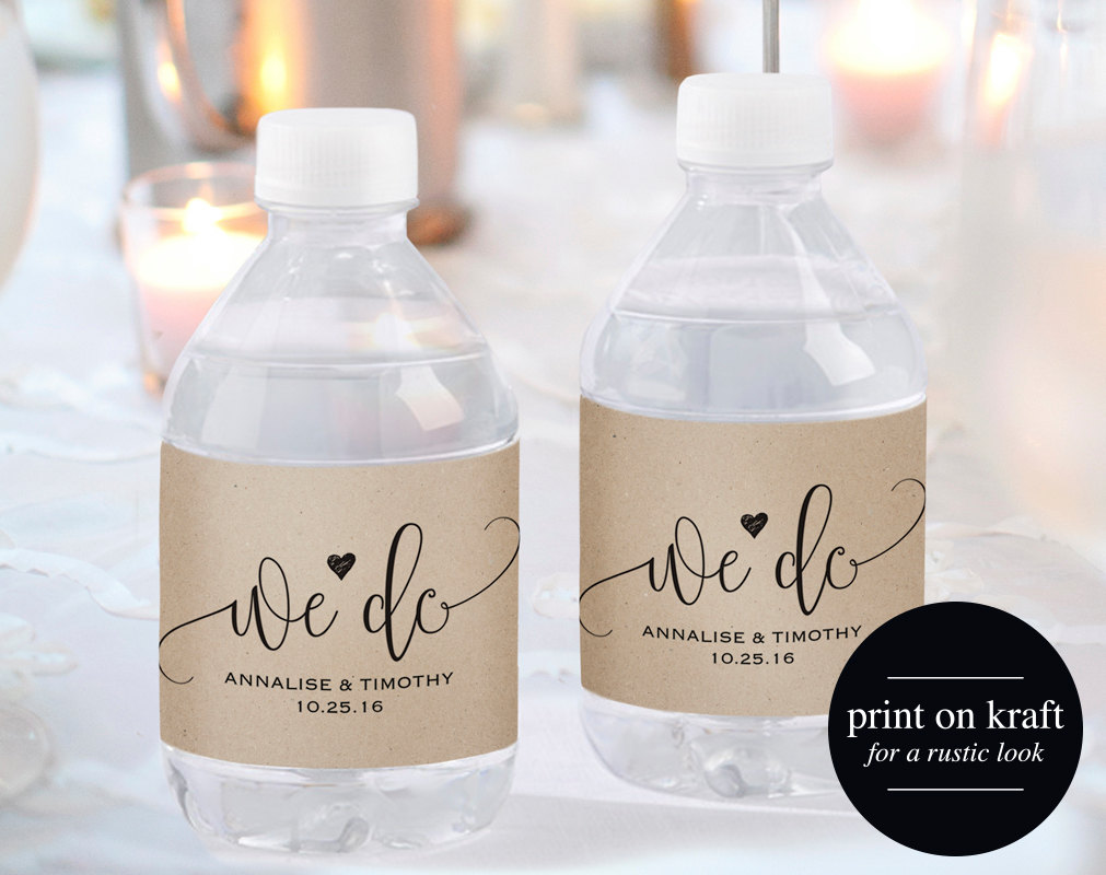Bliss Paper Boutique Wedding Water Bottle Label