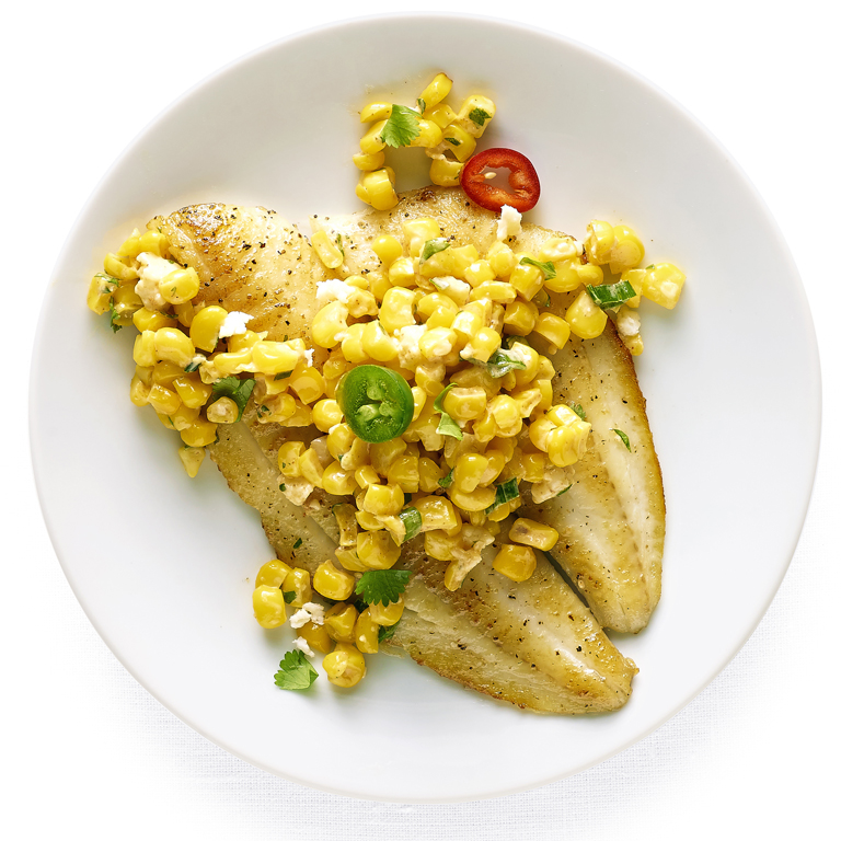 su-Flounder with Elote Salad Image