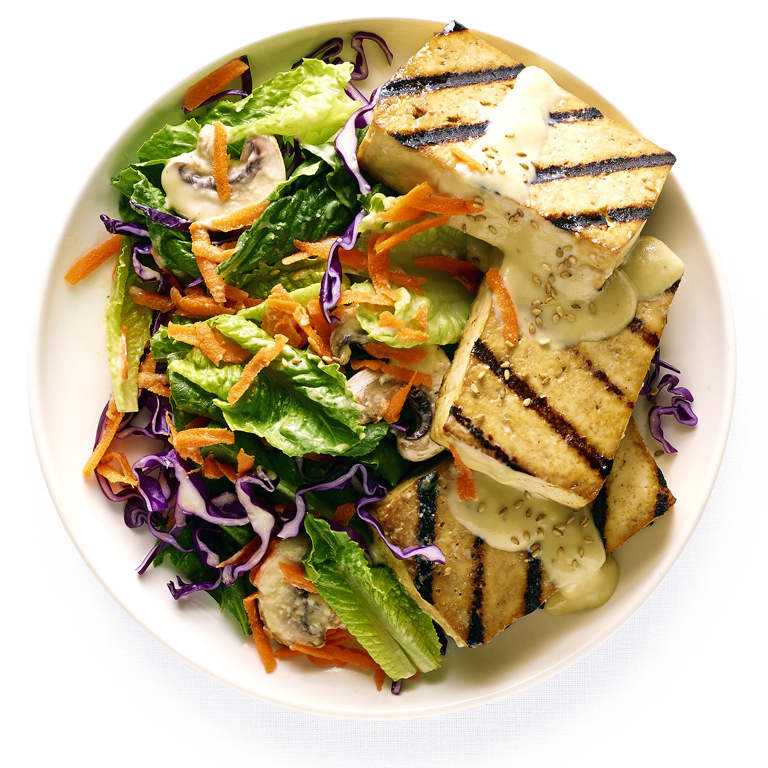 su-Greens with Miso-Ginger Dressing and Grilled Tofu Image