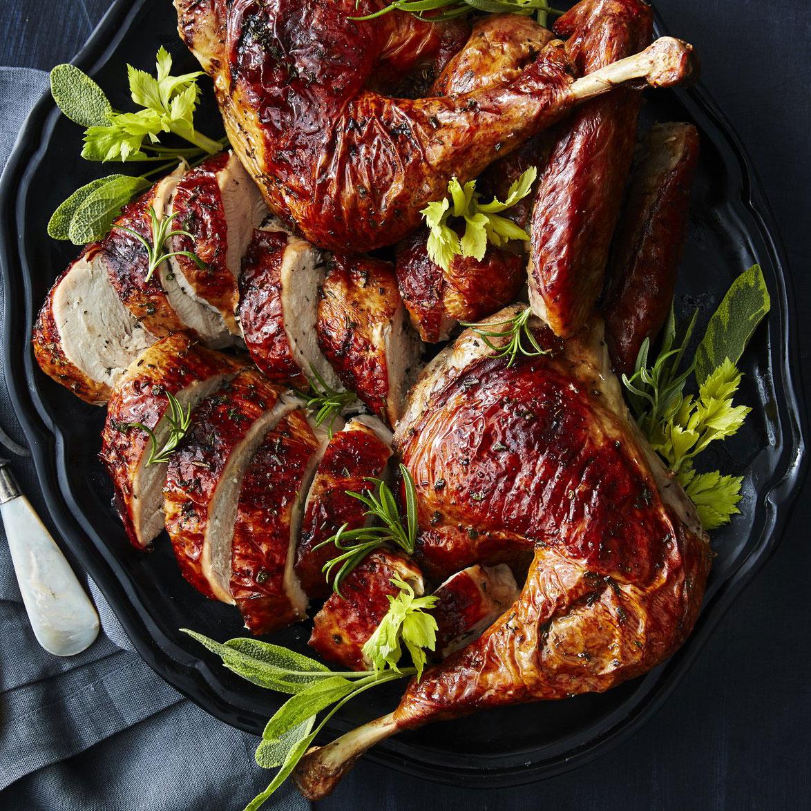 su-Grilled Butterflied Celery-Herb Turkey
