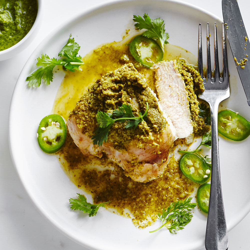 su-Grilled Chicken with Cilantro Coconut Chutney Image