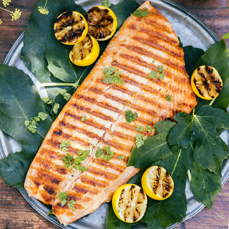 su-Grilled Salmon with Caramelized Lemons Image