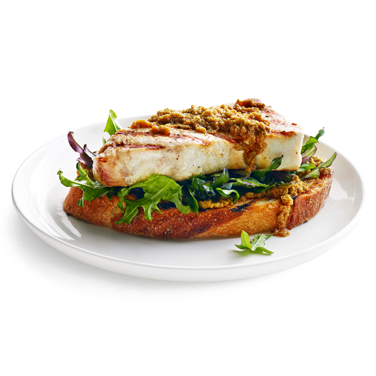 su-Grilled Swordfish Toasts with Lemon-Olive Tapenade Image