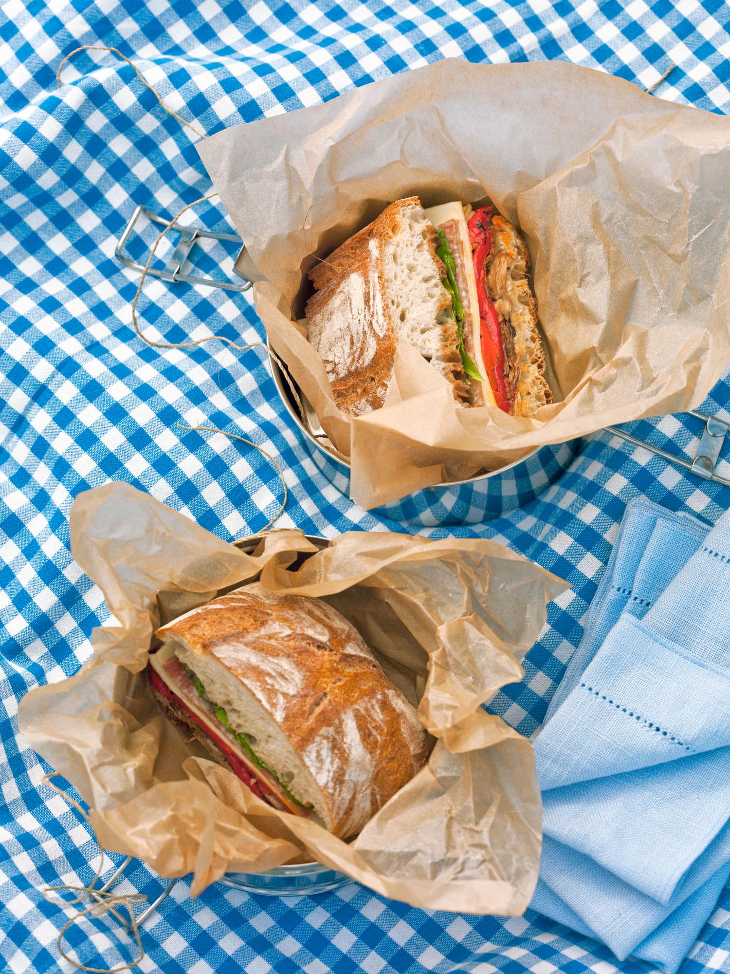 Radicchio Roasted Pepper And Provolone Ciabatta Sandwiches