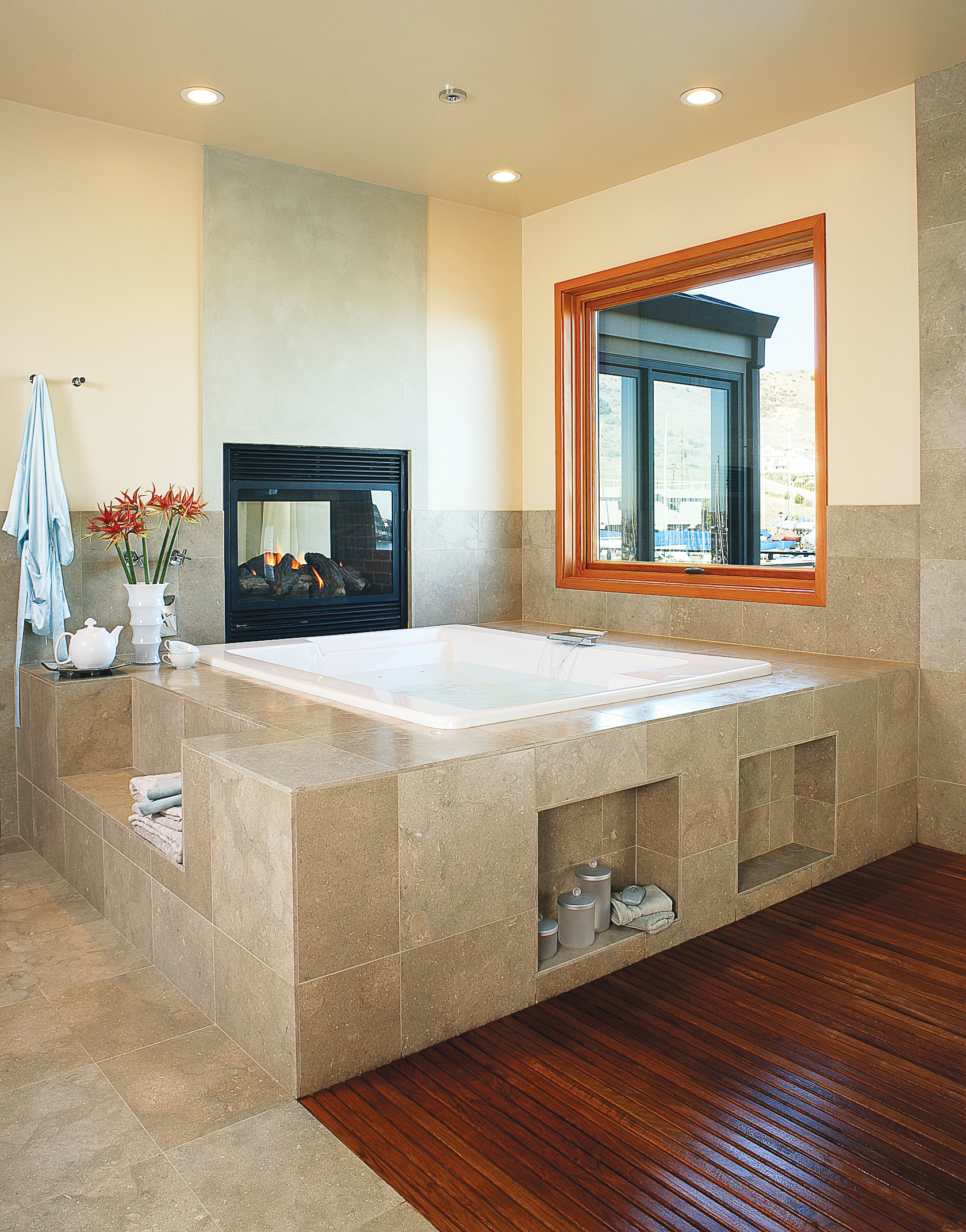 bathroom tub designs. Deck-mounted Jetted Tub With Fireplace Bathroom Designs \