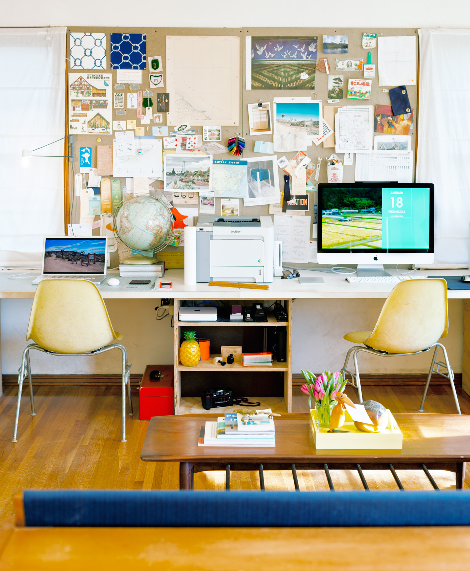 Versatile ideas for a small live work space sunset magazine for Double desks for small spaces