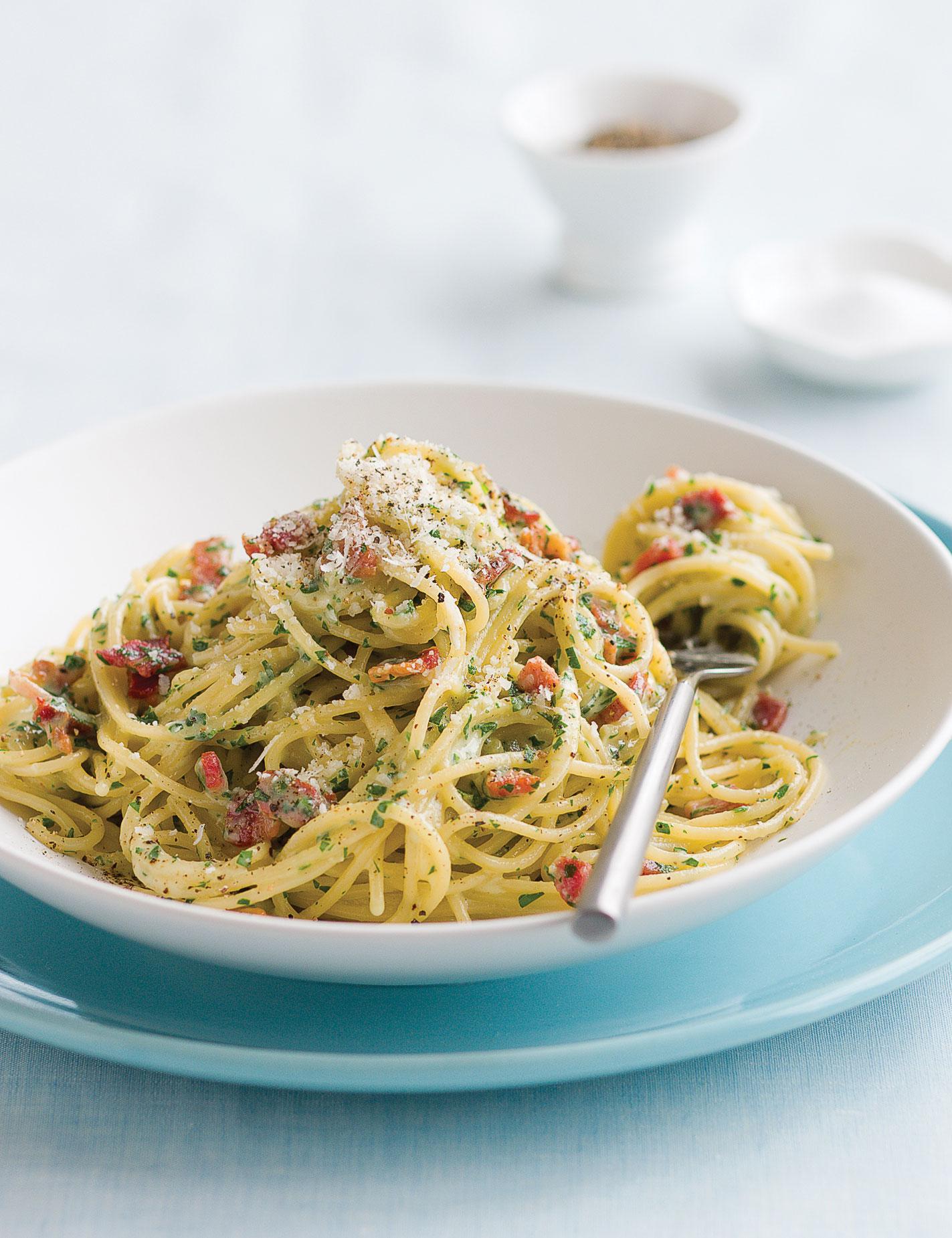 Spaghetti Carbonara with Belgian Abbey Dark or Dubbel