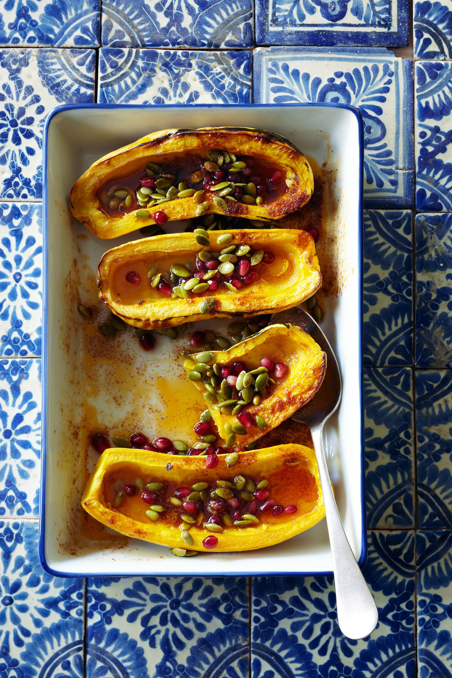 20 cultural fusion dishes sunset magazine roasted delicata squash with honey pomegranate seeds and pepitas forumfinder Image collections
