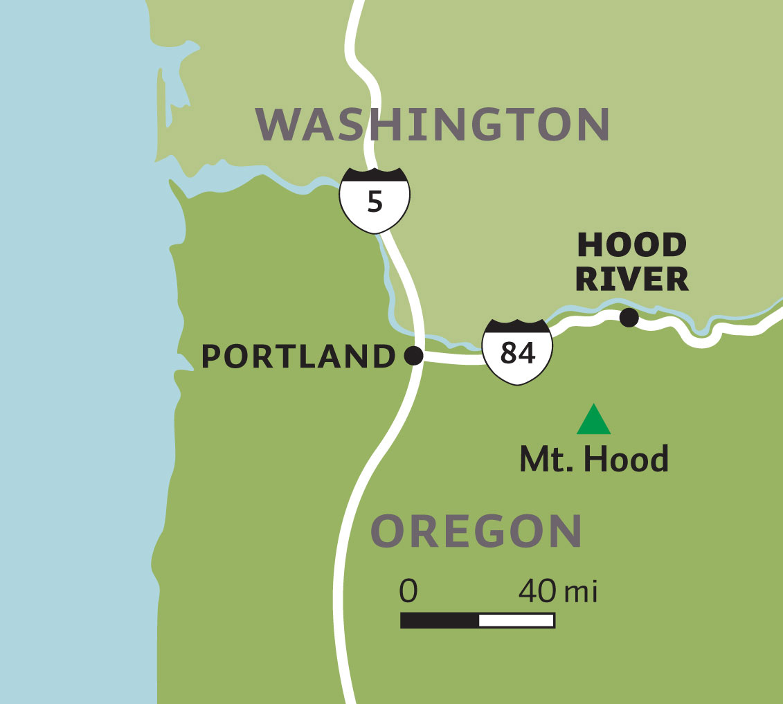 Hood River, OR map
