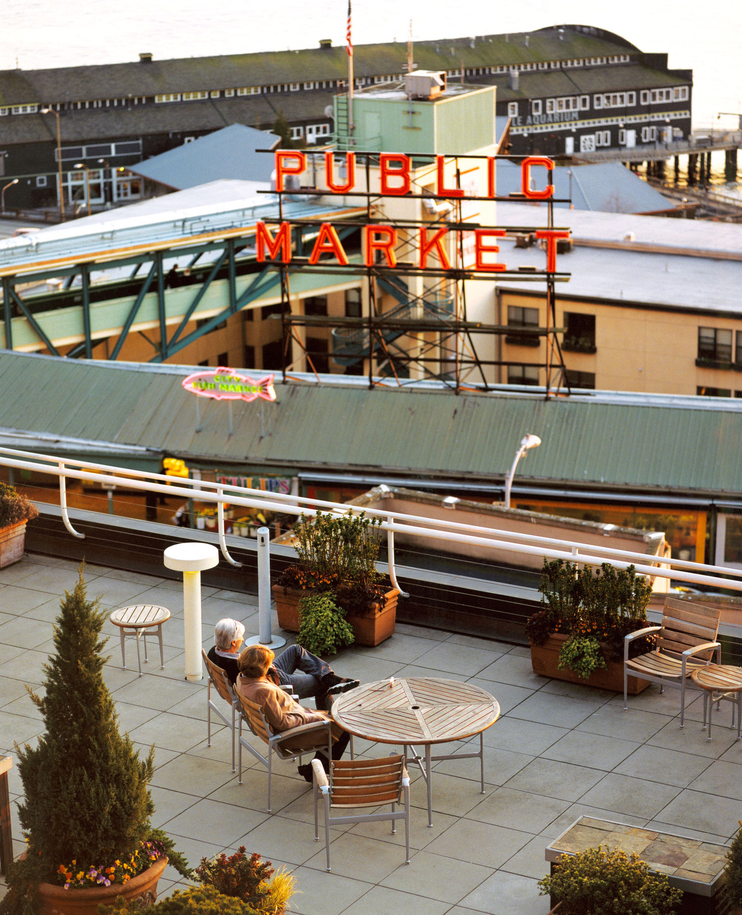 The roof deck of the Inn at the Market in Seattle