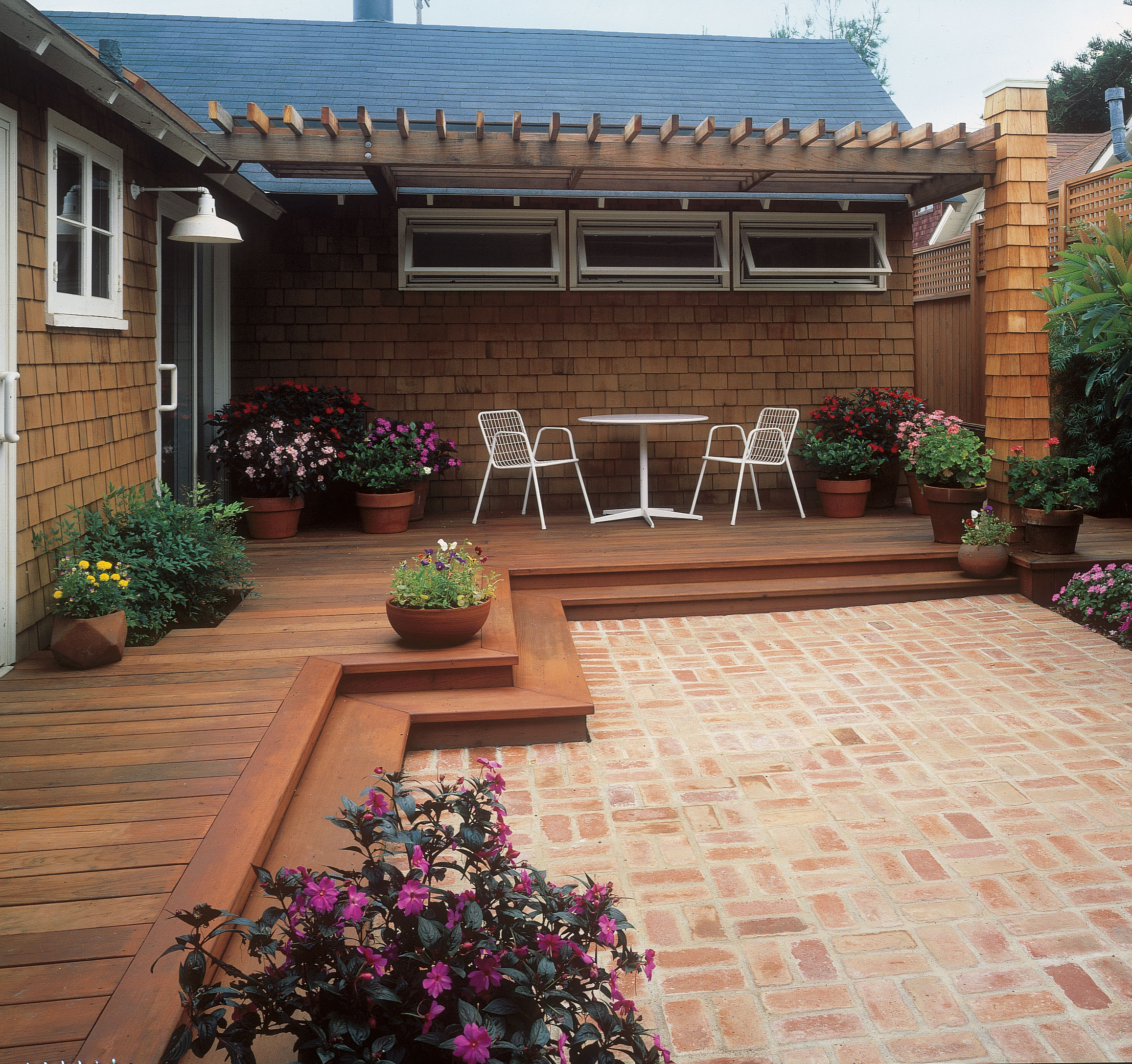 Free building plan for a transitional backyard deck ... on Patio With Deck Ideas id=81501