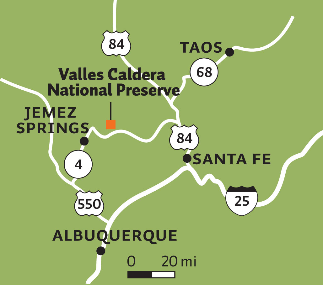 Valles Caldera National Preserve and Jemez Springs, NM map