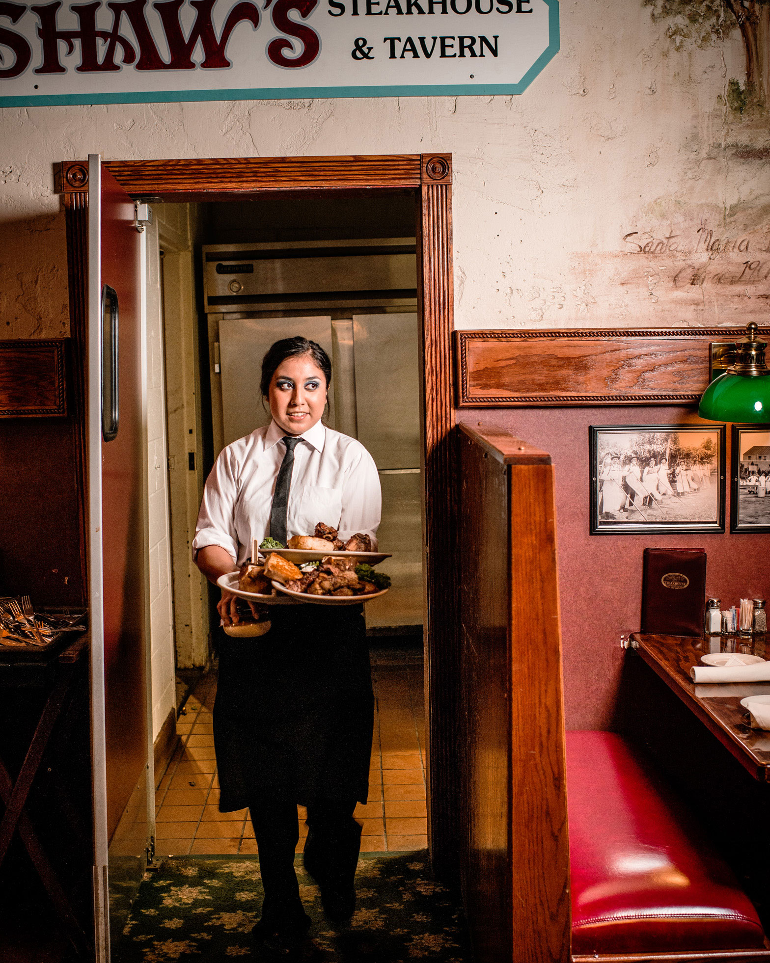 a waitress at Shaw's steak house