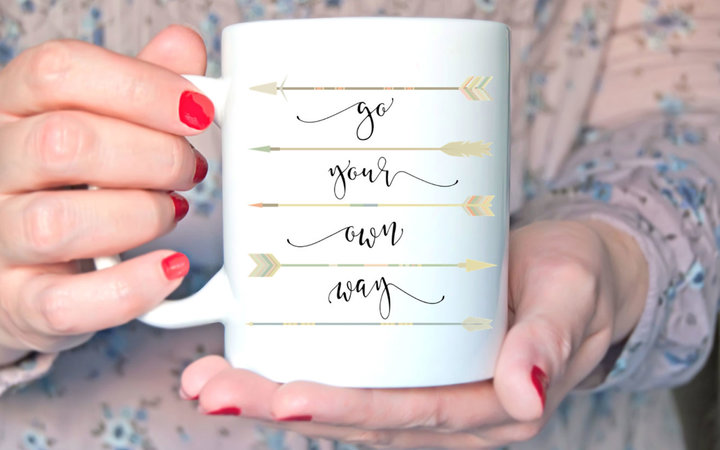 Arrow Calligraphy Ceramic Coffee Mug