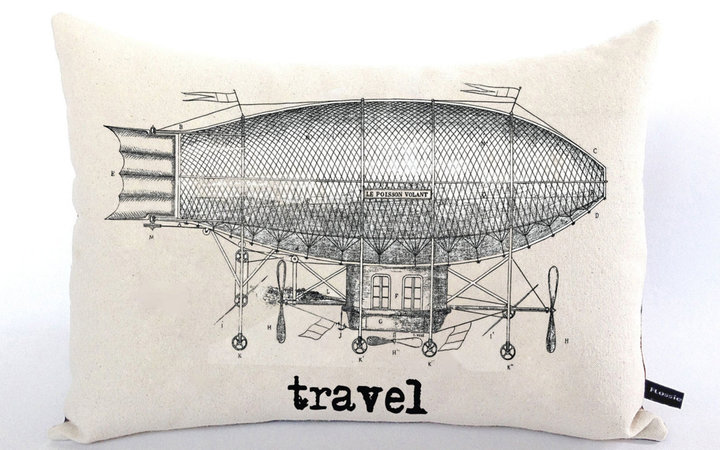 Travel Theme Zeppelin Pillow