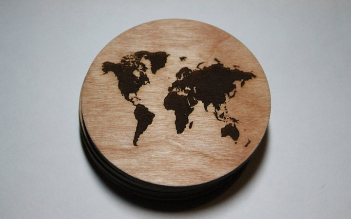 World Map Coasters Etsy Travel