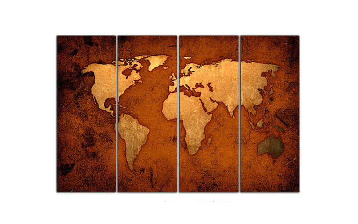World Map Travel Triptych