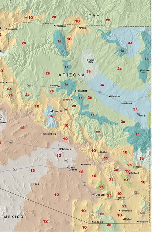Sunset climate zones: Arizona