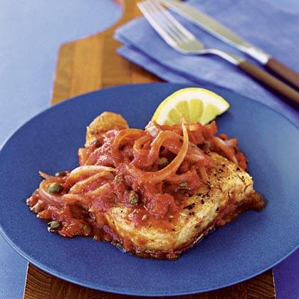 Tuna with Tomato-Caper Sauce