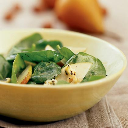 Spinach and Pear Salad with Sherry and Stilton
